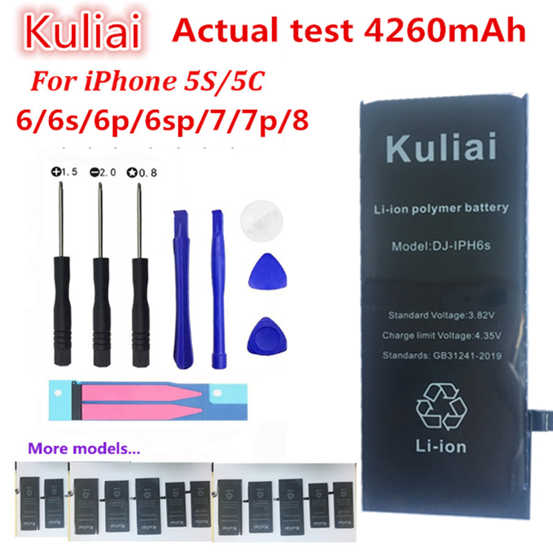 Kuliai  Lithium Battery For Apple iPhone 6S 6 6 plus  5S 5 Replacement Batteries Internal Phone Bateria 4260mAh + Free Tools-in Mobile Phone Batteries from Cellphones & Telecommunications