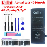 Kuliai Lithium Battery For Apple iPhone 6S 6 6 plus 5S 5 Replacement Batteries Internal Phone Bateria 4260mAh + Free Tools
