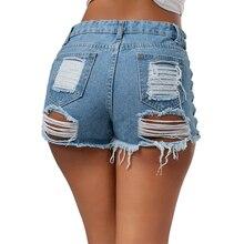 New Summer Women Denim Shorts Solid Lacing Lady New Hole Short Feminino Slim Sexy Bandage Jeans Shorts Female Ripped Hot Shorts