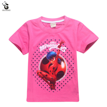 Milagrosa de la Mariquita 2017 Camisetas Para Niñas Trajes Ropa Para Niños Chicas Camisetas Cosplay Ladybug Marinette Tops Niños Camisetas(China (Mainland))