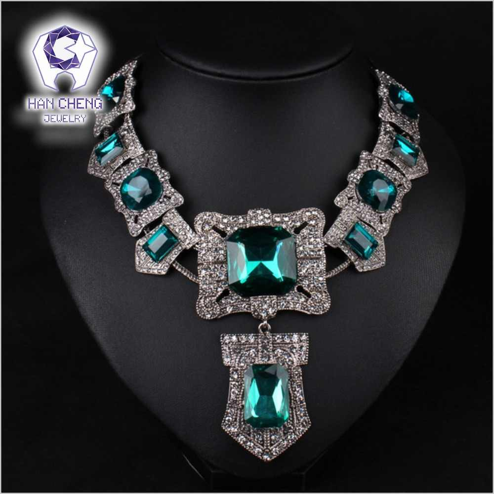 Fashion Vintage Bohemian Rhinestone Big Square Created Crystal Silver Plated Statement Maxi Necklace Women Jewelry collier