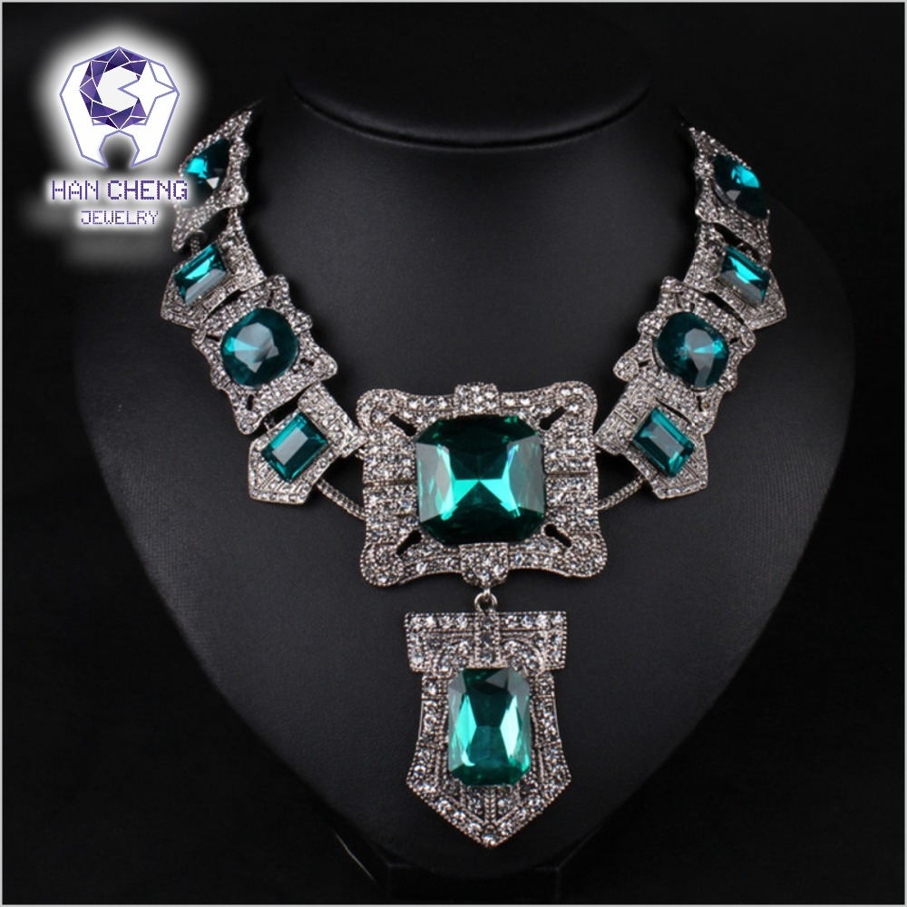 Fashion Vintage Bohemian Rhinestone Big Square Created Crystal Silver Plated Statement Maxi Necklace Women Jewelry collier fashion luxury full big rhinestone choker crystal statement necklace women chockers chunky necklace collier wedding jewellery