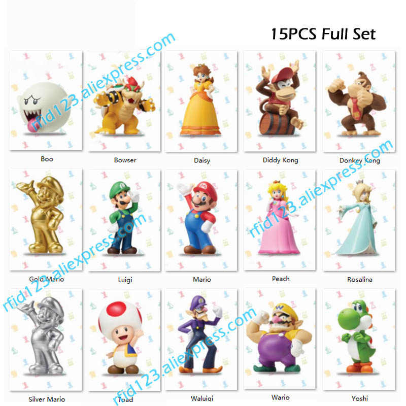 15pcs NFC NTAG215 Printing Card Work For Super Mario Series