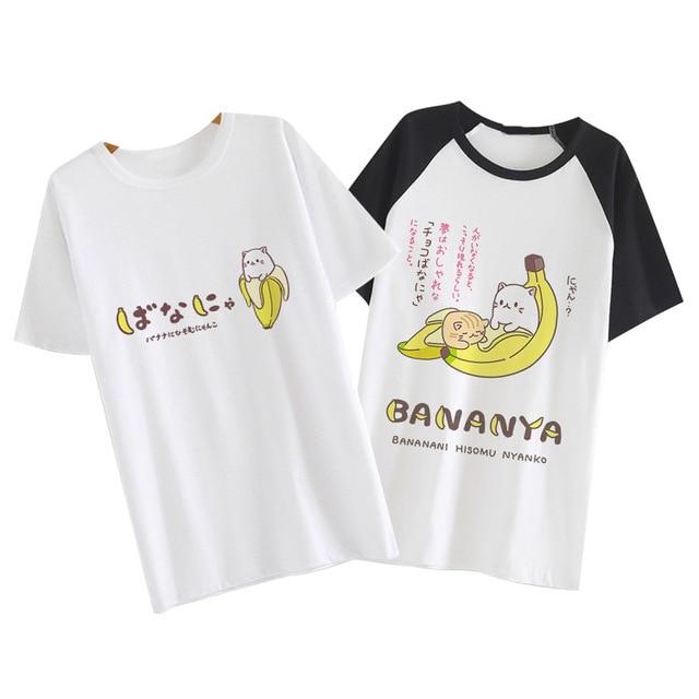 7d8b002ea7079e Japan Anime Bananya Cat lurking in bananas cosplay t-shirt Bananas Cat men  tshirt summer cotton Tees Tops