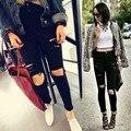 2017 Verão de Cintura Alta Calça Jeans Skinny Jeans Rasgado Para mulheres Calça Jeans Boyfriend Para As Mulheres Esticar Rasgado Jeans Preto Plus Size tamanho