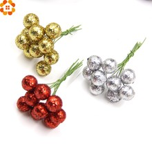 50PCS DIY Glitter Christmas Flowers Artificial Berries Artificial Flowers Stamens For Wedding/Christams Party Decoration(China)