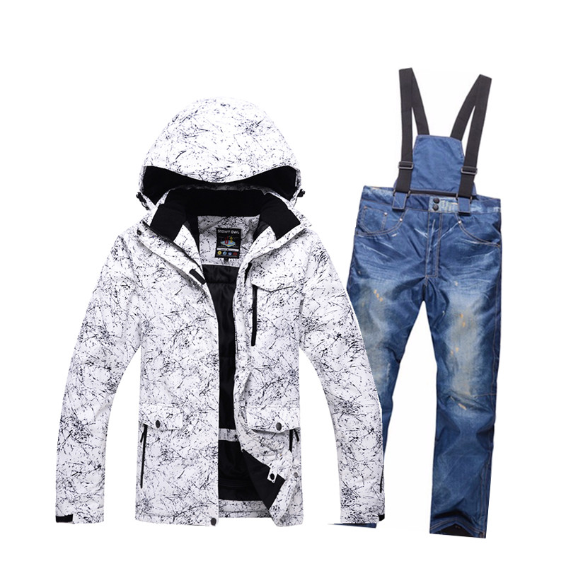 Winter ski suit windproof waterproof Snowboard thermal snow man ski jacket + Thick jeans sets skating clothes big size S-XXXL unisex work jacket suit sets winter warm polyester cotton jumpsuit coveralls windproof size m l xl xxl xxxl xxxxl for choice
