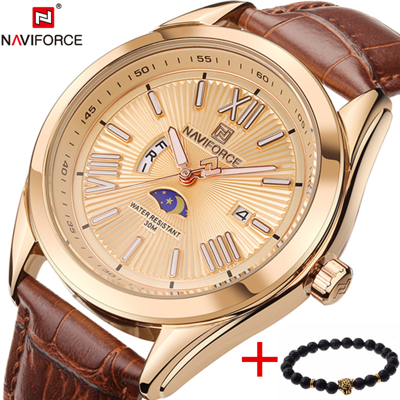 2017 New Top Luxury Brand NAVIFORCE Men Quartz Wristwatch Fashion Mens Watches Waterproof Male Sport Clock Man Relogio Masculino xinge top brand luxury leather strap military watches male sport clock business 2017 quartz men fashion wrist watches xg1080