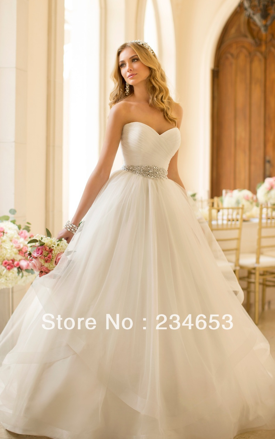 Sexy Tulle Ball Gown Diamante Belt Wedding Dresses With Crisscross