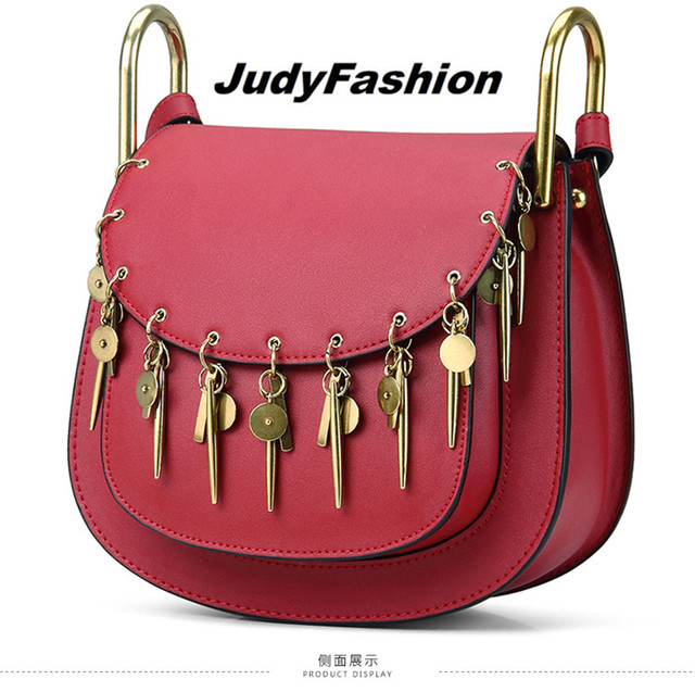 New Luxury designer rivet fashion vintage ladies saddle bag shoulder bag women's purse handbag messenger bag across body flap