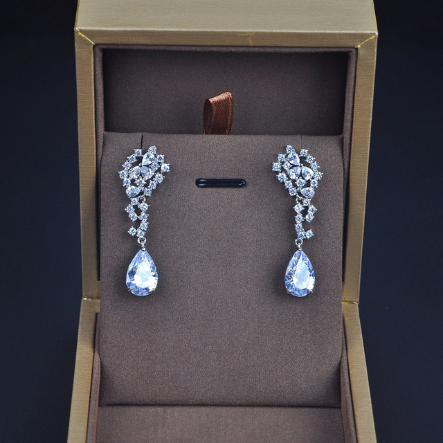 Be 8 New Trendy Luxury Cubic Zirconia Water Drop Dangle Earrings Fashion Jewelry for Women Wedding Party Gift E409