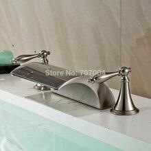 New Arrive 3 pcs Deck Mounted Bathroom Basin Faucet Brushed Nickel Dual Handles Basin Faucet Set