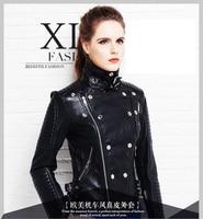 Free shipping,2018 new Brand fashion black Genuine leather women slim jackets.plus female 100% sheepskin biker jacket,sales.