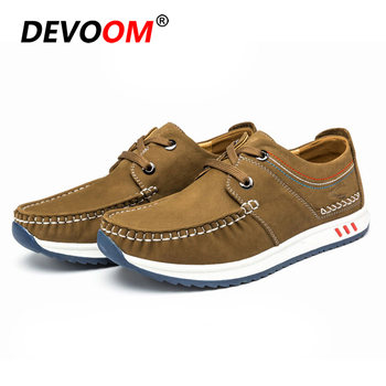 2019 Seasons Herrenschuhe Mens Leather Shoes Genuine High Quality Real Leather Shoes Lace up Anti-Skid Moccasins Men Boat Shoes