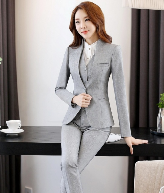 Professional 2016 Autumn And Winter Novelty Grey Business Women Work