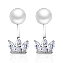 crown earrings crystal two-wear