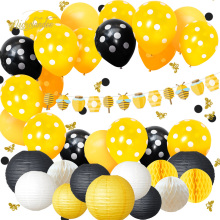 NICROLANDEE 34 pcs/set Bee Yellow Black Balloons Paper Lanterns Child Birthday Home Party DecorationDIY