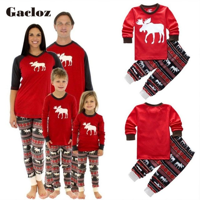 8801145e3cd8 Matching Family Christmas Pajamas Clothes Elk Print XMAS PJs Set Dad Mom  Kids Baby New Year Sleepwear Nightwear Shirt Pants Set