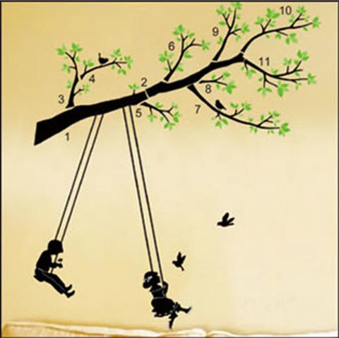 Free Shipping TC2045 50*70cm large wall paper Swing black girl and ...