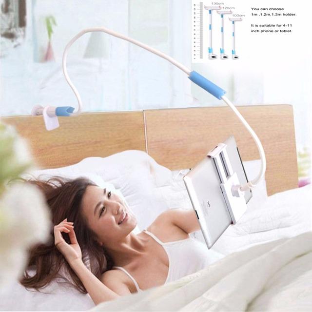 360 Rotating Flexível 100-130 cm de Comprimento Do Braço Titular Tablet PC 4-11 polegada suporte do telefone móvel preguiçoso cama suporte de montagem para ipad air mini