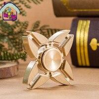 Brass Plating Copper Hand Fidget Spinner Luminous Triangle Fidget Focus Spinner Desk Toys Steel Bearing Spinning