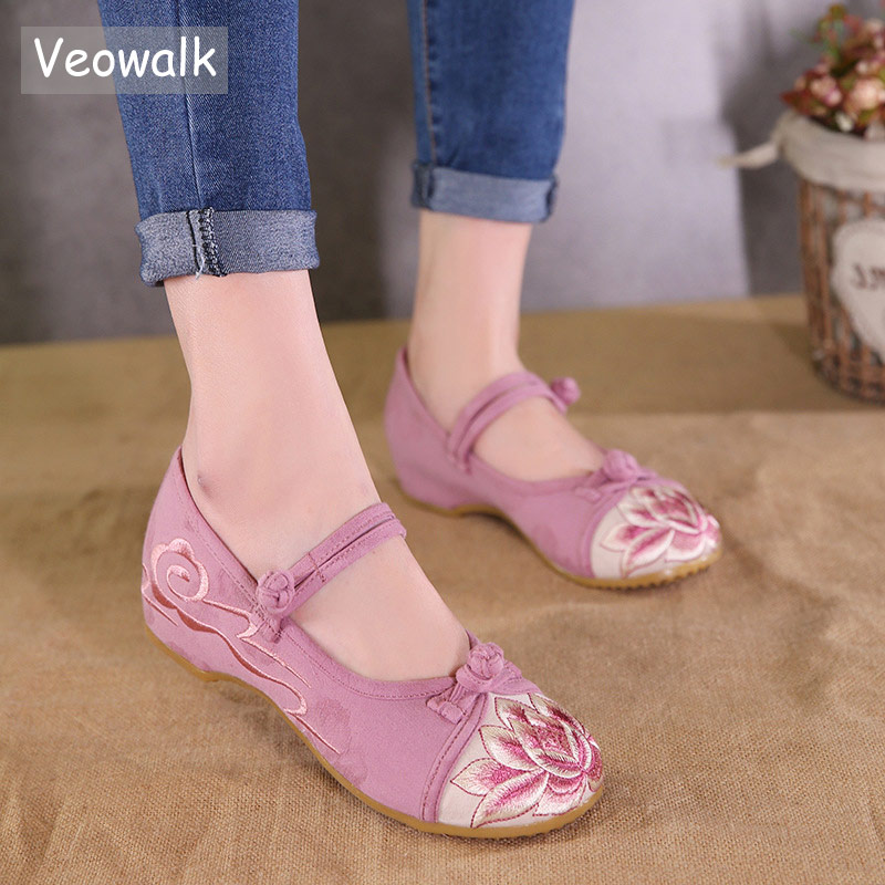 Veowalk Chinese Lotus Embroidery Women Canvas Mary Janes Flats Patchwork Cotton Fabric Low top Comfortable Shoes foe LadiesVeowalk Chinese Lotus Embroidery Women Canvas Mary Janes Flats Patchwork Cotton Fabric Low top Comfortable Shoes foe Ladies
