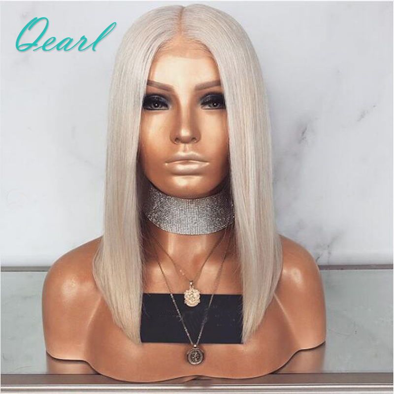 Platinum Blonde Shoulder Length Silky Straight Lace Front Human Hair Wigs Brazilian Remy Hair Pre Plucked Middle Part Lace Wig