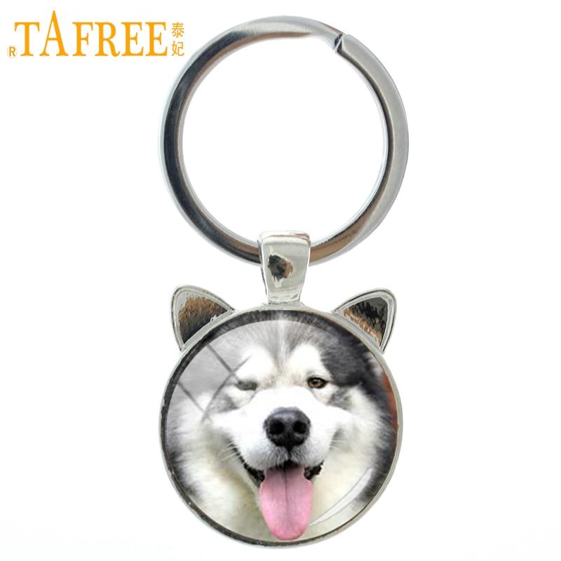 TAFREE New Trendy Handmade Dog Keychain Happy Alaskan Malamute Pug Husky Key Chain Ring Holder Vintage Men Women Keyring CN746