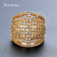 NEWBARK CZ Wide Ring for Women Pave Cubic Zirconia Gold Color/Silver Color Ring Wholesale Fashion Jewelry Anel Largo