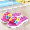 YNB 6 Flores Niños Sandalias para Niñas Princesa Zapatos Niños antideslizante de PVC Sandalias de Playa Para Niños Rojo Azul rosa Zapatillas de Diapositivas
