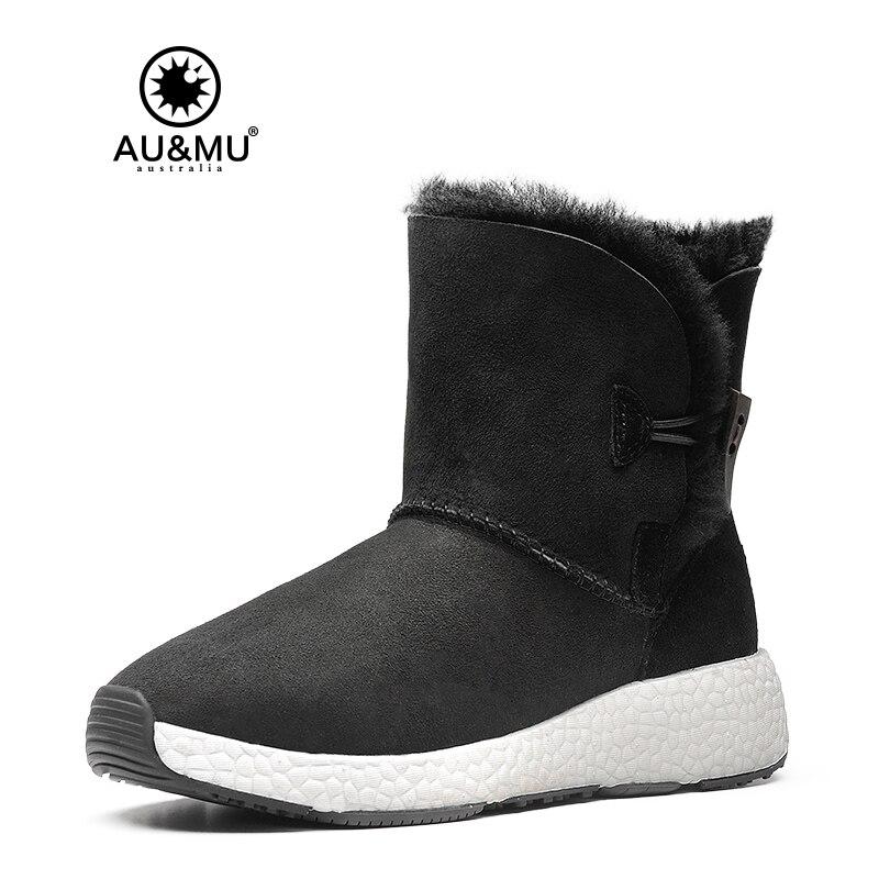 2017 AUMU Australia Womens Ankle Fur Sheepskin Short Button Winter Snow Boots UG NY097 2017 aumu australia women classic short sheepskin elastic suede winter snow boots ug ny082