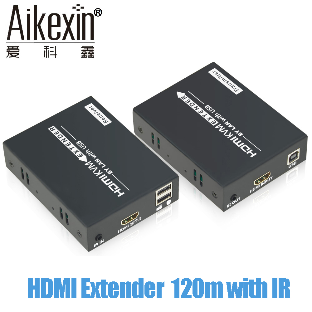 Aikexin 120m HDMI Extender Over TCP/IP CAT5e/6 Rj45 LAN Ethernet Cable Support 1080P with IR 120m HDMI Transmitter Receiver 130 bb 8899 r