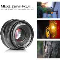 Lente de enfoque manual Meike 35mm f1.4 para Sony e-mount A7R A7S A6500 A7/X-T2 X-T3 Fuji/Canon EOS-M M6/M4/3 cámara sin espejo + APS-C