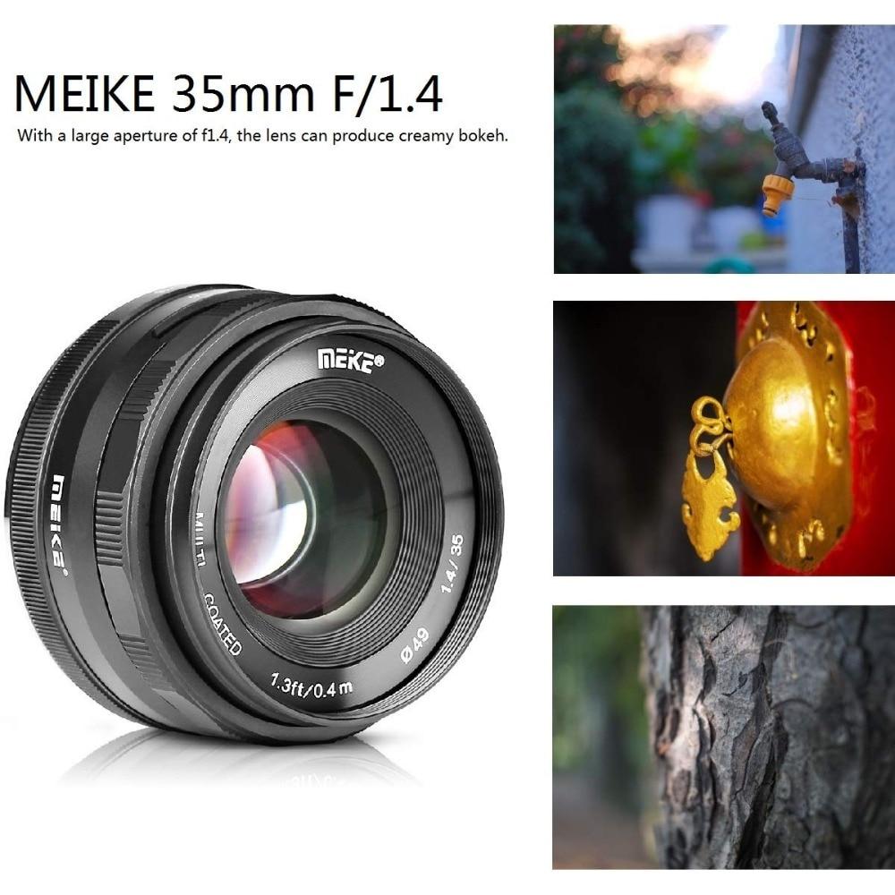 Meike 35mm f1.4 lente de enfoque Manual para Sony E-mount A7R A7S A6500 A7/Fuji X-T2 X-T3 /Canon EOS-M M6/M4/3 Mirrorless Cámara + APS-C