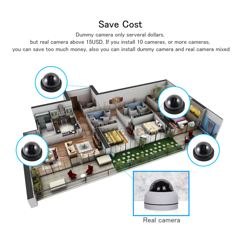 Indoor Hause Sicherheit Gefälschte Kamera Dome Dummy Kamera mit Flash-LED-Licht Simulierte Video Überwachung Gefälschte Kameras Im Freien