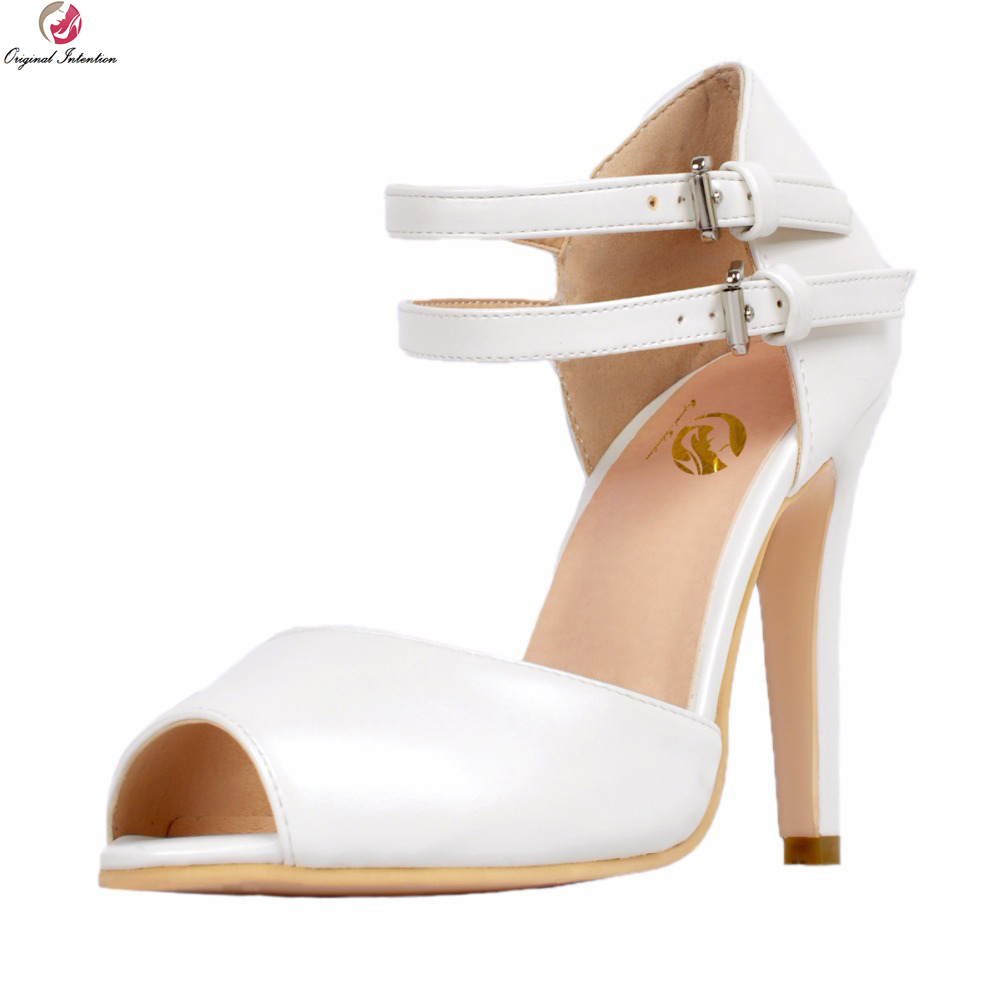 original intention super sexy women sandals fashion open toe thin high heels fashion black red shoes woman plus us size 4 15 Original Intention Super Sexy Women Sandals Fashion Peep Toe Thin High Heels Sandals Fashion White Shoes Woman Plus US Size 4-15