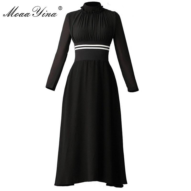 MoaaYina Fashion Designer runway Black Midi Dress Summer Women Long sleeve Stand collar Ruched Elastic waist Holiday Dress lc6181 2 ruched wrap midi dress black free size