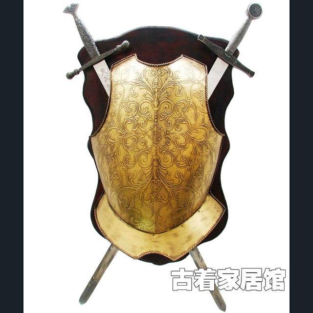 Vintage Iron Shield Sword Ornaments Bar Ktv Decorative Style