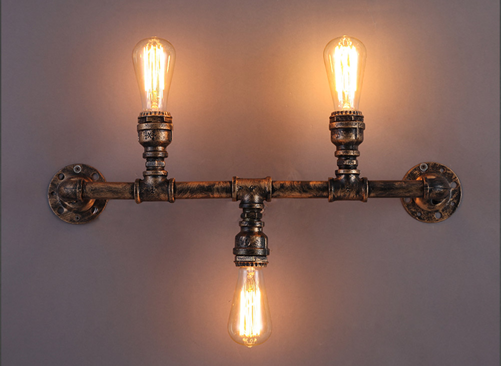 3 Head Water Pipe Wall Lamps Vintage Waterpipe Industrial Retro Wustic Wall Light Warehouse Wall Sconce Home Lighting water pipe wall lamps vintage american country mesh cover industrial retro wustic wall warehouse sconce for home lighting light