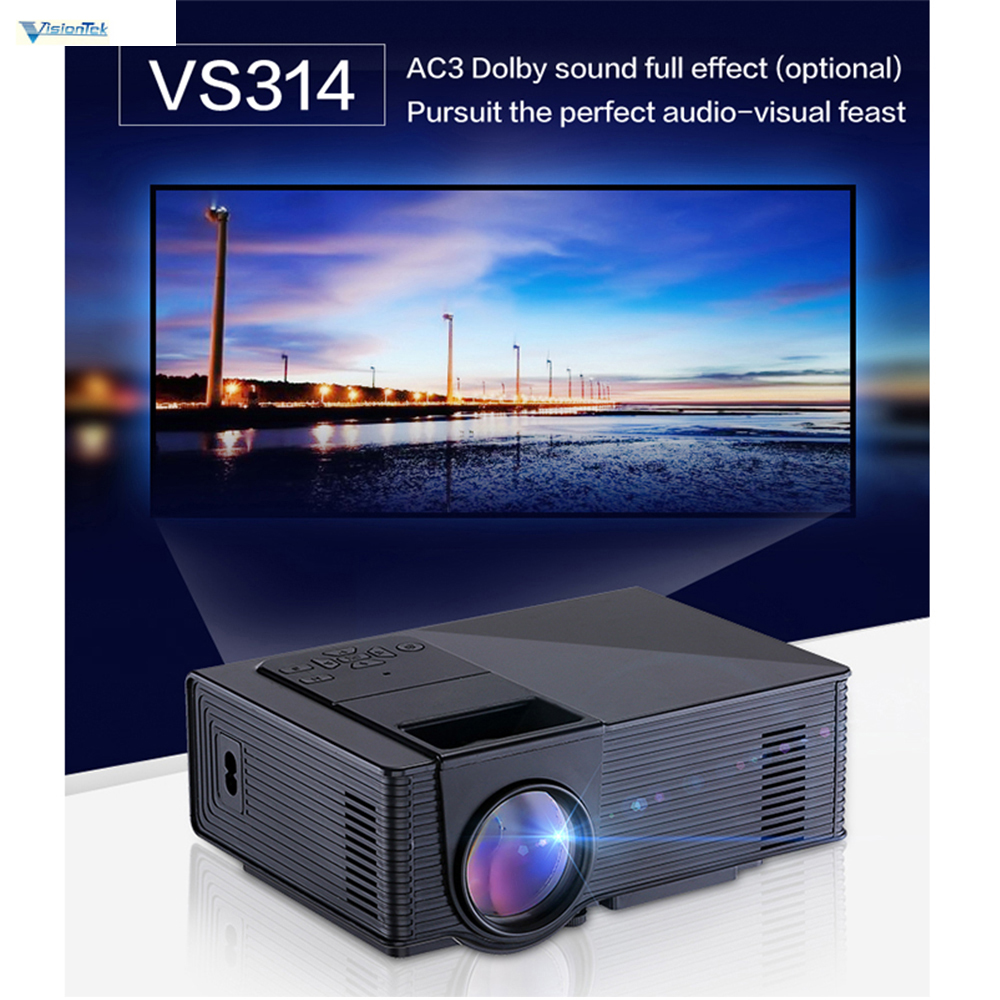VisionTek VS314 Mini Proyector LED Full HD 800x480 Píxeles 0.9-6 M Home TV Repro
