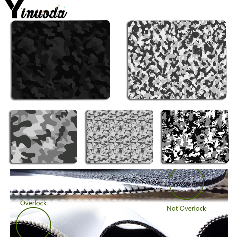 Yinuoda New Design Black and White Camo Computer Gaming Mousemats Size for 180x220x2mm and 250x290x2mm Rubber Mousemats