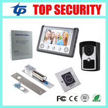 Good quality 7 inch color screen video door phone video door bell kit power supply+electric bolt lock+infrared exit button