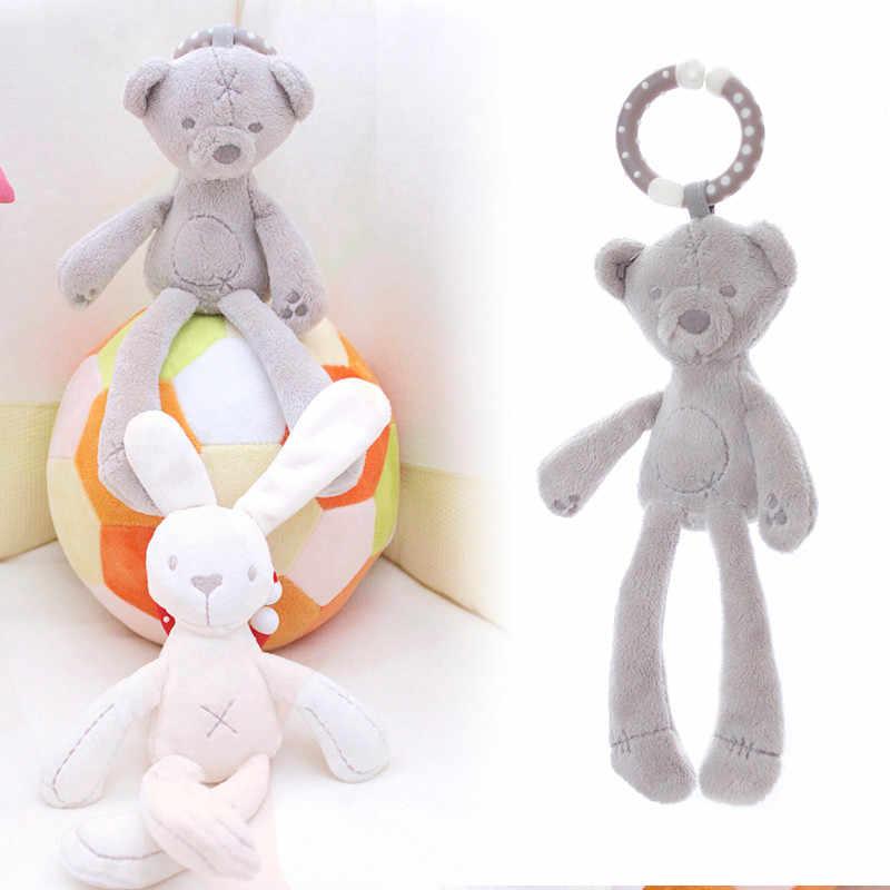 かわいいベビーベッドベビーカーのおもちゃウサギのバニーぬいぐるみ幼児人形携帯ベッド乳母車子供動物ぶら下げリングリング色ランダム