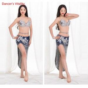 Image 2 - 2019 新ベリーダンスの夏のセクシーなショートスカート衣装グラデーションスパンコールオリエンタルダンス練習セットトップ + スカート 2 個