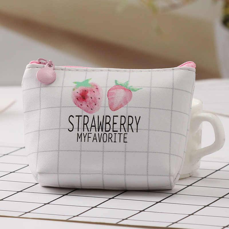 New Strawberry Pattern Coin Purse Card Holder Pu Leather Key Bag Sweet Small Wallet Mini Zipper Pocket Pouch Coin Purse mini coin purse wallet clutch handbag bag womens dot pattern small wallet money pouch card holder gift girls