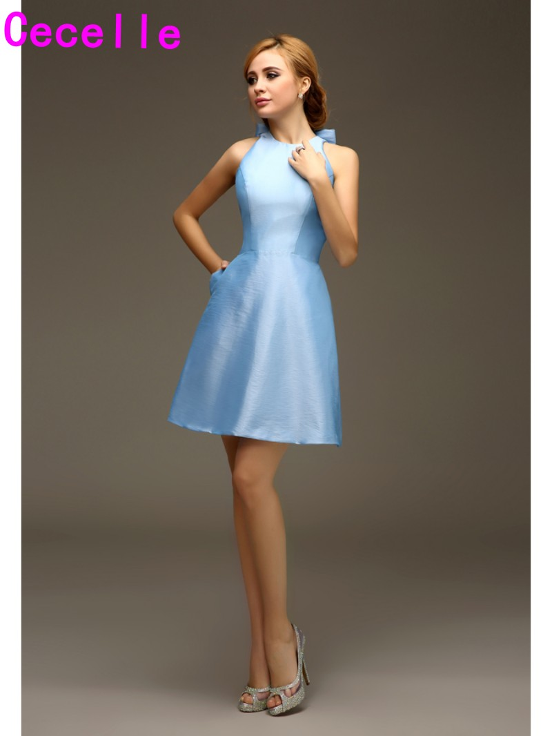 Short mini a line halter light baby blue taffeta bridesmaids short mini a line halter light baby blue taffeta bridesmaids dresses with straps sky blue short wedding party dresses custom in bridesmaid dresses from ombrellifo Gallery