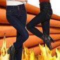 Зимняя Мода Высокой Талией джинсы плюс размер Джинсы Женские женский теплый бархатом femme промывают повседневная тощий карандаш Джинсовые брюки MZ978