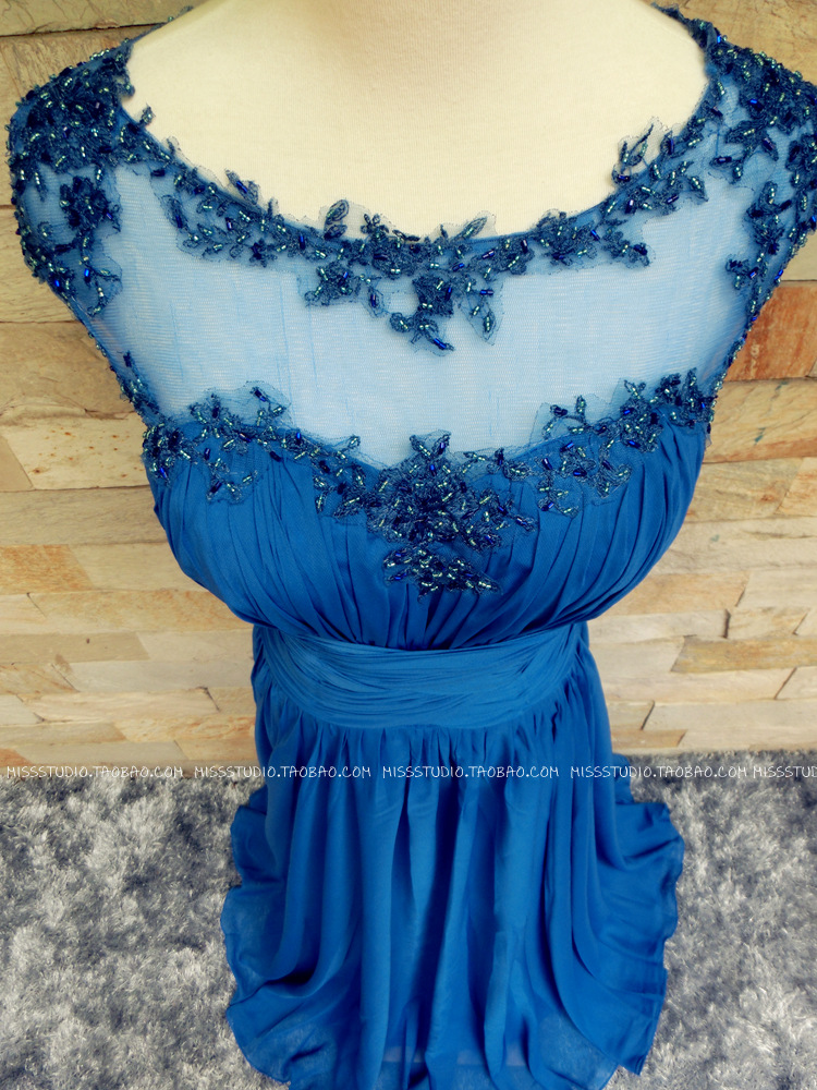 royal blue chiffon long evening dress 2015 new sexy cap sleeve party prom dresses appliques beading vestidos robe de soiree