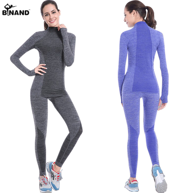 BINAND חדש נשים סטי יוגה כושר ספורט חליפות ארוך שרוול יוגה חולצות ריצה כושר יוגה עליון אלסטי Slim מכנסיים 1 סט