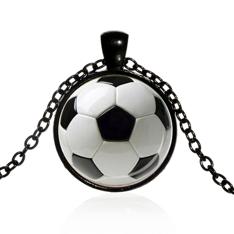 SIAN Novelty Fashion Soccer Pendant Necklace Football Art Photo Glass Cabochon Long Necklace Men Boy Children Gift Sport Jewelry Islamabad